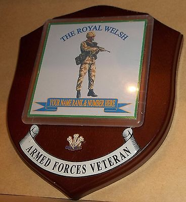 The Royal Welsh Veteran Wall Plaque personalised.