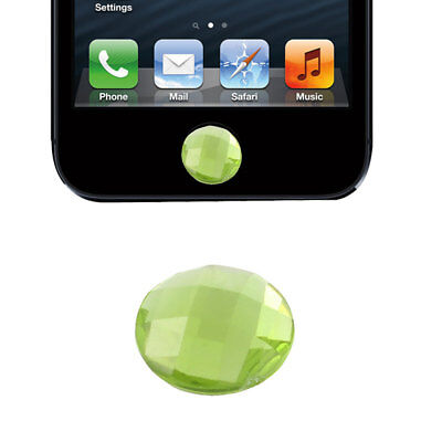 Green Plastic Crystal Round Home Button Sticker For Phone