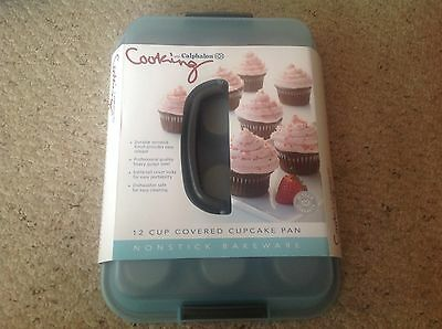 New Cooking with Calphalon 12 Cup Covered Cupcake Pan, nonstick