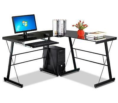 Glass L-Shaped Corner Computer Work Desk Office Furniture Table Workstation New