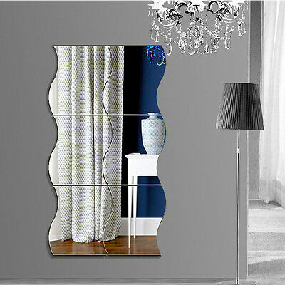 6PCS Home Mirror Wall Stickers Wave Decal Art Vinyl Room Decor DIY Removable