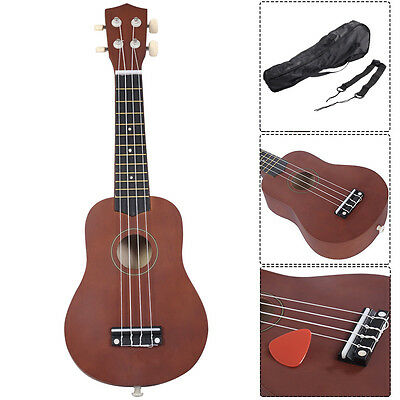 "21"" Acoustic Ukulele 4 String Uke Wooden Guitar Musical Instrument Fretboard New"