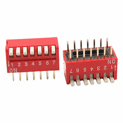 2 Pcs 2.54mm Pitch 7 Position Slide Type DIP Switch Red
