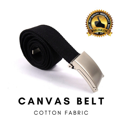 Black Unisex Cotton Fabric Canvas Belt Army Style Combat Webbing Silver Buckle