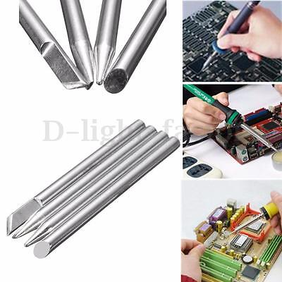 4x Electric Soldering Iron Tips Head Replaceable 4mm Shank For 40W Solder Irons