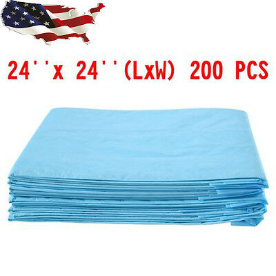 200 PCS 24'' x 24'' Puppy Pet Dog Cat Pads Wee Pee Piddle Pad Training Underpads