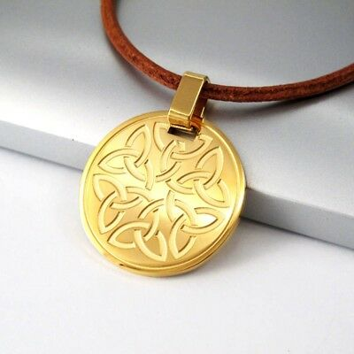 Gold Stainless Round Trinity Knot Celtic Pendant Brown Leather Tribal Necklace