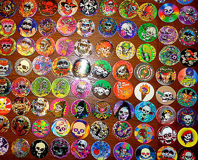 POGS lot de 48 Pogs Tous DIFFERENTS Têtes de Morts, Squelettes (T-MORT 48 001)
