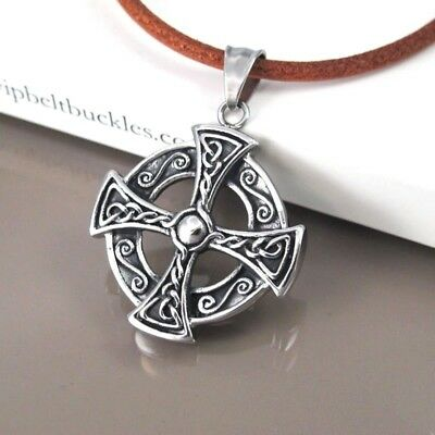 Silver Shield Cross Celtic Knot Stainless Steel Pendant Brown Leather Necklace