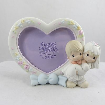 Precious Moments Bisque Porcelain Heart Shape Wedding Couple Picture Frame