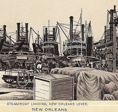 1890s Steamboat Landing New Orleans Ship photo-style Dr Hartmans Cure Trade Card