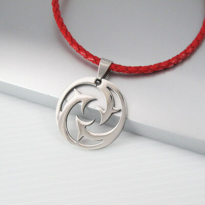 Silver Round Stainless Steel Dolphin Pendant Braided Red Leather Surfer Necklace