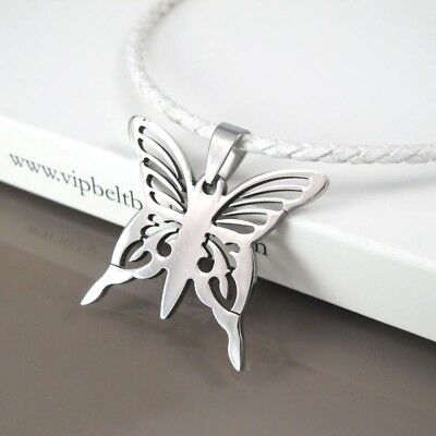 Silver Stainless Steel Butterfly Charm Pendant White Leather Surfer Necklace