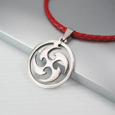 Silver Stainless Steel Ninja Weapon Pendant Braided Red Leather Tribal Necklace
