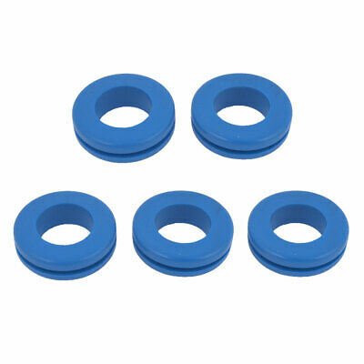 5 Pcs Blue Armature Wire Double Sided Rubber Grommet 16mm x 23mm