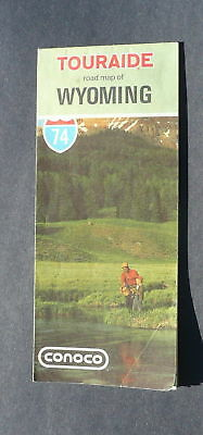 1974 Wyoming  road map Conoco oil Yellowstone insert