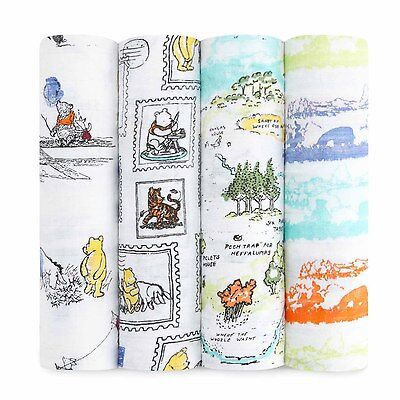 aden + anais Classic Swaddle Musselin Tuch Baumwolle Winnie the Pooh 4 Stück