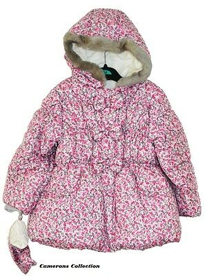 Girls Ditsy Floral Hooded Fur Trim Padded Jacket/Coat   2/3  3/4  4/5  5/6  yrs