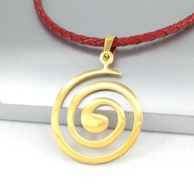 Gold Stainless Steel Round Spiral Tribal Pendant Black Leather Surfer Necklace