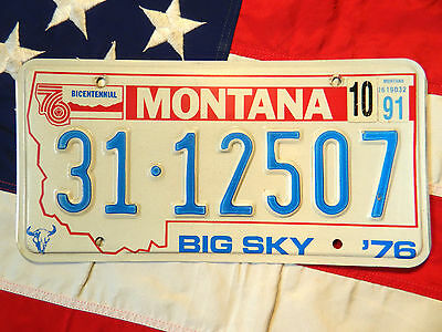 1976 MONTANA license licence plate plates USA NUMBER AMERICAN REGISTRATION
