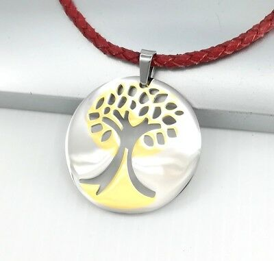 Silver Gold Celtic Tree Of Life Pendant Red Braided Leather Cord Choker Necklace