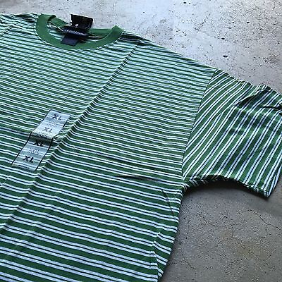 90s VTG NWT Striped GRUNGE T Shirt SURF Green XL White SKATE VAPORWAVE Bold
