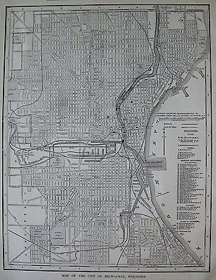 1925 Antique MILWAUKEE Map Vintage Map of Milwaukee Gallery Wall Art 2984