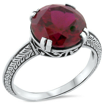 5 Ct. Lab Ruby Antique Art Deco Design .925 Sterling Silver Ring Size 10,#200