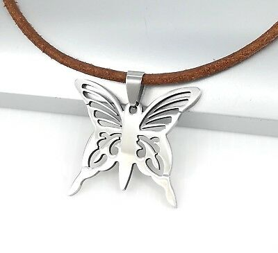 Silver Stainless Steel Butterfly Charm Pendant 3mm Brown Leather Surfer Necklace