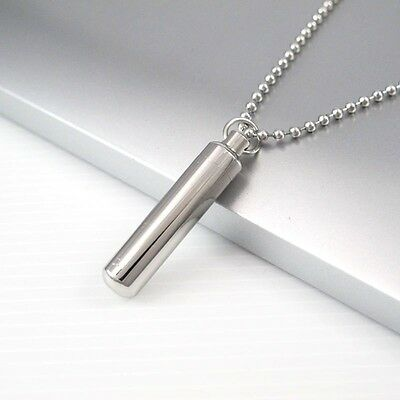"Silver Stainless Steel Tube Container Pendant 24"" Ball Chain Surfer Necklace NEW"