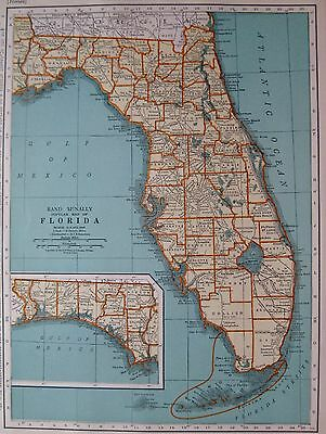 1939 Antique FLORIDA Map State Map of Florida Gallery Wall Art 3002