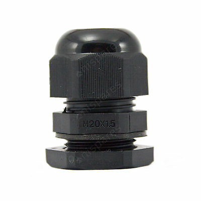 20 x 20mm Black IP68 Waterproof Compression TRS Cable Stuffing Gland Locknut M20