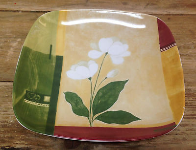Kyoto 222 5th Square Salad Plate Fine China Flower Geometric Green Yellow 265432