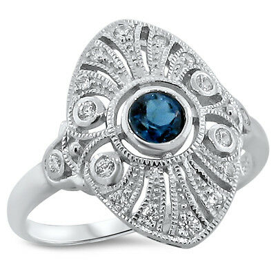 Genuine London Blue Topaz 925 Sterling Silver Art Deco Style Ring Size 9,   #194