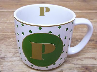 Letter P Green Gold Polka Dot Coffee Mug Cup