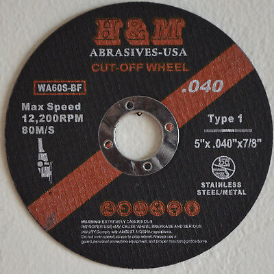 "25 5-inch x .040"" x 7/8"" Cut-off Wheel Stainless Steel & Metal Cutting Disc"