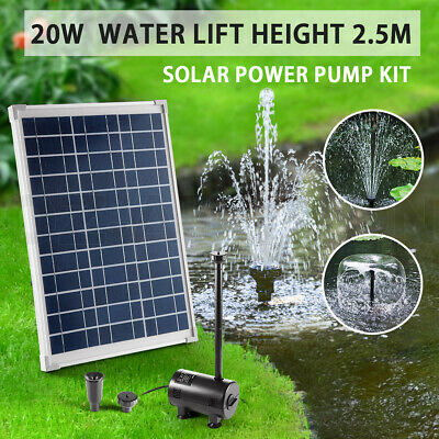 20W Solar Power Fountain Outdoor Pond Pool Garden Submersible Water Pump Kit