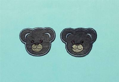 2 Iron On Embroidered Gray Teddy Bear Head Applique Patch (Grey) - IR2