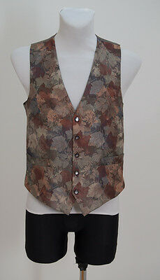 Mens Folkespeare Vintage Waistcoat Vest Grey With Leaves Size S Small Excellent