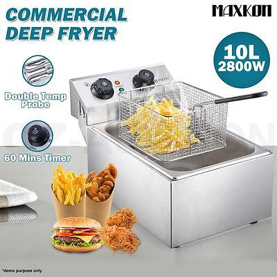 2800W 10L Commercial Electric Stainless Steel Deep Fryer Frying Basket Cooker