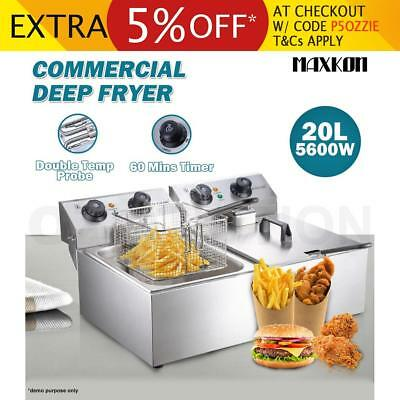 5600W 20L Commercial Electric Deep Fryer Double Basket Frying Chip Cooker