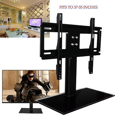 37 - 55 inch Universal Black Glass TV Stand with Bracket for LED LCD Plasma New