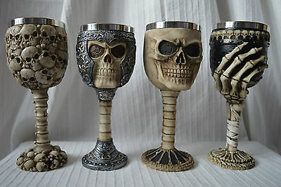 Witch craft Wine Goblet glass cup resin metal gothic altar skulls black silver