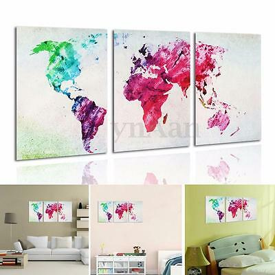 3pcs HD Abstract Colored World Map Unframed Canvas Print Picture Wall Art Decor