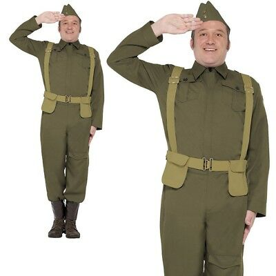 WW2 Home Guard Private Costume Mens World War Army Officer Outfit M-XL