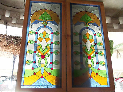 Pair English Art Nouveau  Deco Stained Window Victorian Large Mint Glass Wood