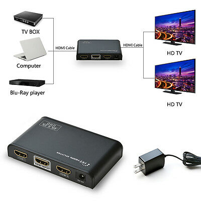 1x2 Ports UHD HDMI 2.0 Splitter Compliant with 2.2 HDCP Support 3D 1080P Video
