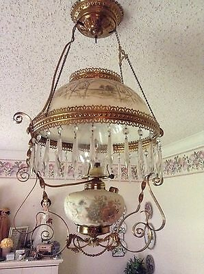 Vtg Antique Brass Chandelier W Hand Painted Milk Glass Crystals Farm Scene