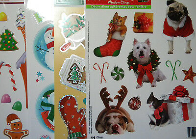 Christmas Winter Window Vinyl Clings  4 Designs dogs gingerbread +