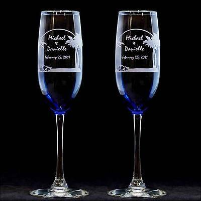 Personalized Tropical Beach Wedding Toasting Flutes Engraved Champagne Gles